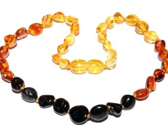 Genuine Baltic Amber Baby Teething Necklace Rainbow Olive Beads