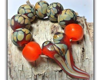 Phoenix Floating Heart Focal Set Lampwork Beads