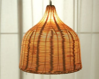 Woven Wicker Basket Lamp Large Handmade Pendant Light Natural