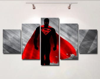 Superman poster canvas wall art print painting wall hanging home decor High Quality 5 piece set Gift kids room superhero hero man of steel