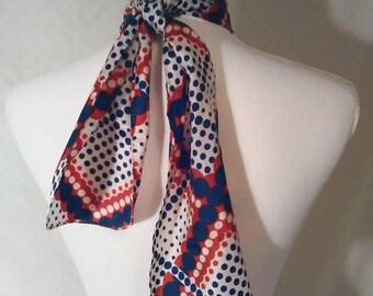 Vintage 1970s multicolored polkadot scarf