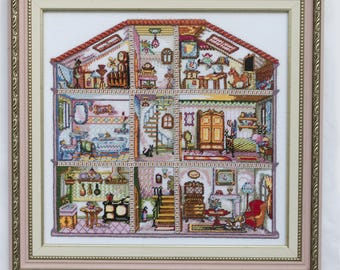 """Embroidered painting """"Doll House"""". Embroidered tapestry."""