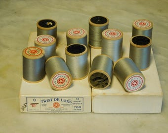 One dozen vintage Spools of Grey Thread, American Thread Company, Wooden Spools, Twist De Luxe Mercerized Cotton Thread, sewing supplies