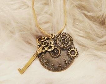 Clock & key necklace