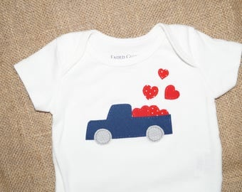 Pickup Truck with Hearts Shirt or Bodysuit - Valentine's Day