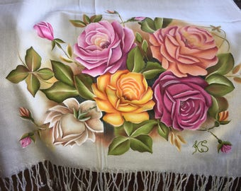 Hand painted roses and buds on long and wide pashmina wrap