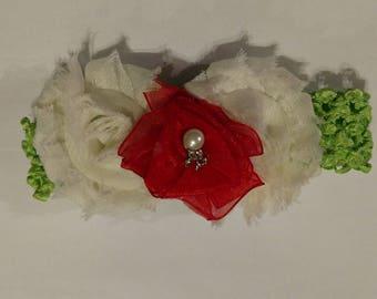 Baby Headband Green, White and Red