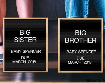Pregnancy Announcement Card, Big Sister Big Brother, Letter Board, Black and White, Pregnancy Photo Prop, Printable, Print, Vintage