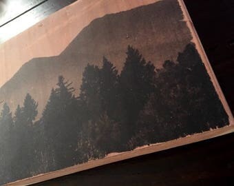 Black and white photo transferred onto reclaimed redwood. Image transfer.