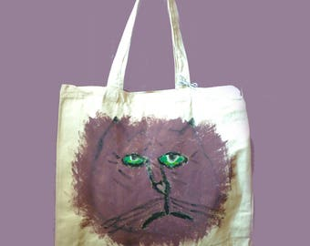 BOOKEY Melancholy Cat Original Hand Painted Heavy Duty Shopping Bag