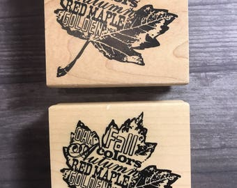 Fall Themed Maple Leaf With Words Wooden Block Stamp