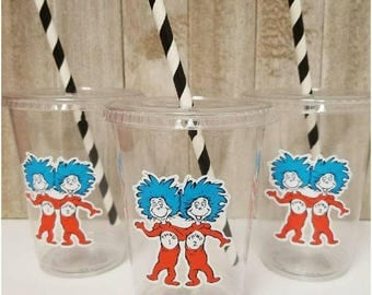 Set of 24 - Dr. Seuss Party Cups, LIDS and STRAWS INCLUDED