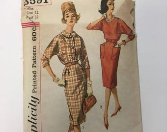 Vintage Pattern c.1960's Simplicity 3591 Dress