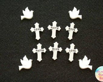 Have Love Faith Hope Buttons and Dove Charms Set
