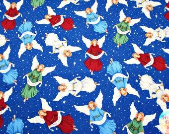 Silent Night Angels Blue Cotton Fabric