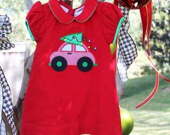 Christmas Car Applique Girls' Dress