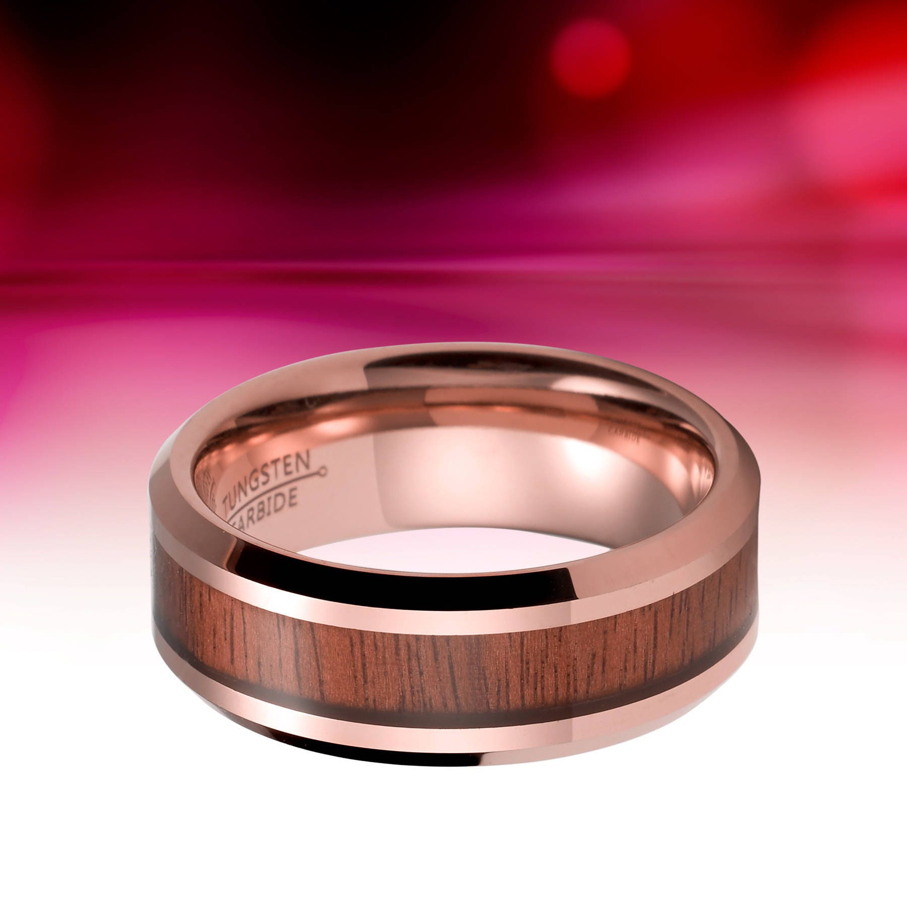 Amazing Rose Gold Wood Wedding Ring – Wedding