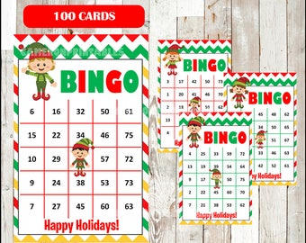 Elf Bingo Printable Game - 100 different Cards - Christmas Elf Game - Party Game Printable - INSTANT DOWNLOAD