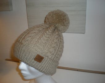 Twisted beige wool hat adult hand made in ALSACE