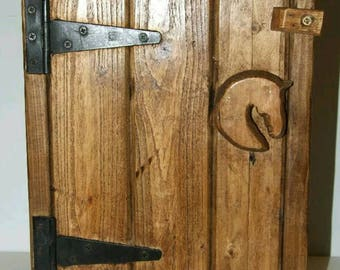 Horse Head Handle Rustic cottage style Handmade solid wood wall Cupboard