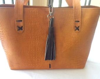 Tan Leather Carefree Top-zip Shoulder Bag