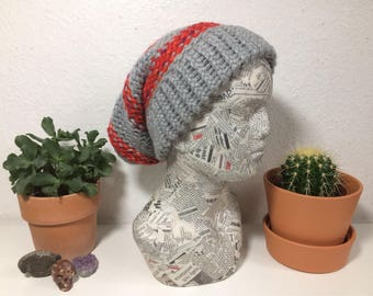 Grey and red super slouchy beanie hat.