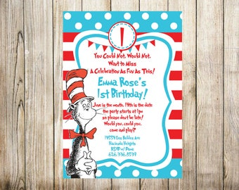 Dr. Seuss Birthday Invitation - Digital Invitation