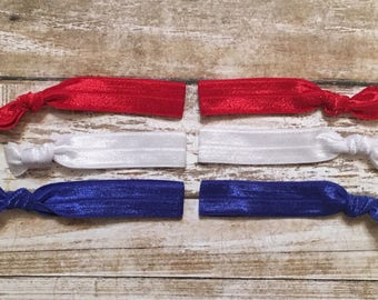 """Set of 12 Pieces Patriotic Red, White, Blue 5/8"""" Elastic Knotted / Knot Hairtie / Bracelet Party Favors/Everyday Wear"""