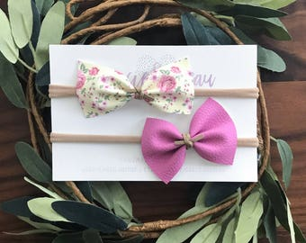 Baby Bow Set, Leather Baby Bow, Baby Headband, Nylon Band, Soft Hair Bow, Pink Bow, Floral Bow