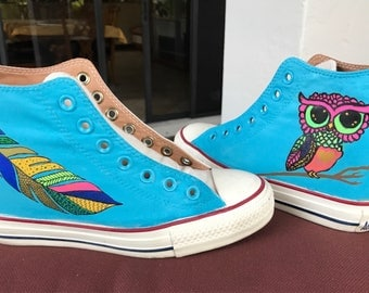 Hand painted Converse , Hand painted shoes