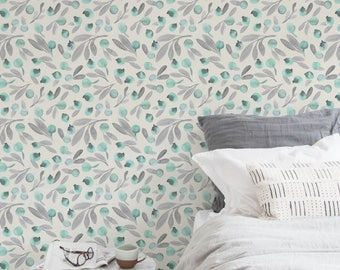 Boho Floral Removable Wallpaper Watercolor Leaves Botanical Temporary Spring Pattern