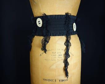Black Ruffle Belt