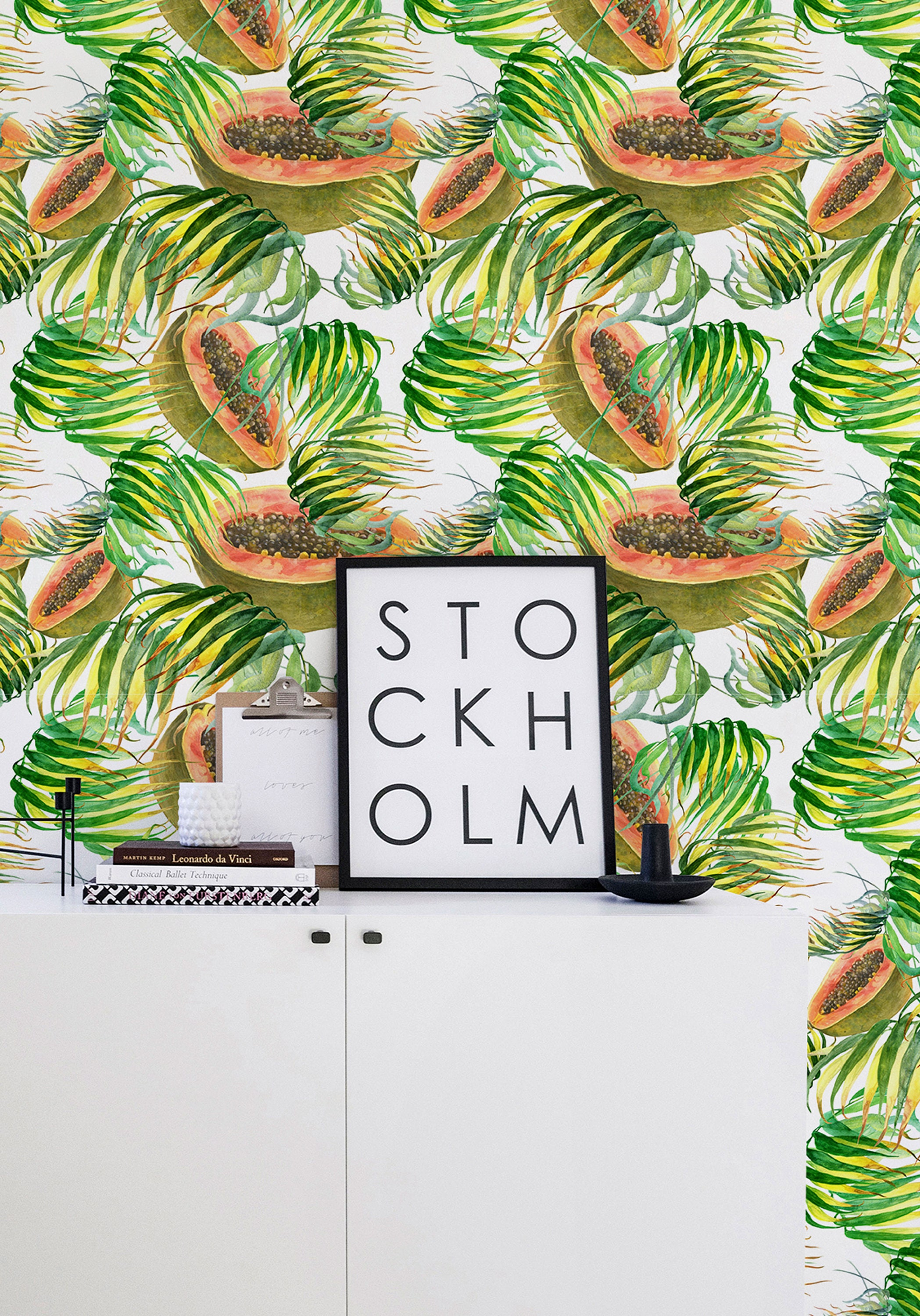 p removable tropical il selfadhesive decals wallcovering fullxfull rvgz wallpaper wall decor papaya
