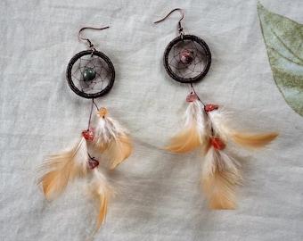 Dream catcher earring- carnelian stone - brown feather- feather earring