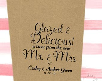 Glazed and Delicious, Favor Bags, Popcorn Bags, Candy Buffet Bags, Cookie Bags, Wedding Favors, RD042