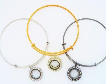 Mini Locket Charm bracelet in Silver or Gold or Gun Metal