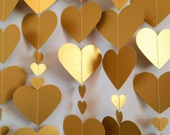 Gold Heart Garland, Gold Wedding Garland, Engagement Decoration, Bridal Shower, Wedding Bunting, Hen Party Decoration, Golden Anniversary.