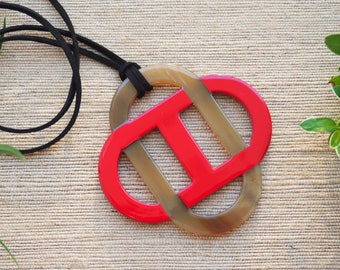 Buffalo Horn Pendant Necklace Leather Red Lacquer H.PN25R