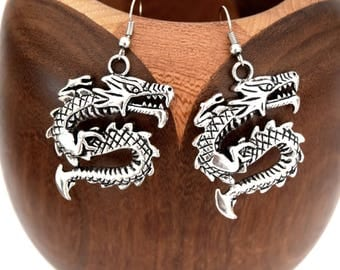 Antique silver Chinese dragon, antique silver Chinese dragon clip earrings
