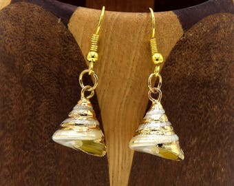 Natural shell gold fine, natural shell gold clip earrings