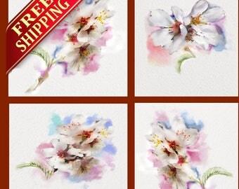 Cherry Blossom Wall Art Flower Home Decor Set 4 Gift, Room Decor Living Room Cherry Blossom Art Print Pink Flower Pink Art Decor Gift (C07)