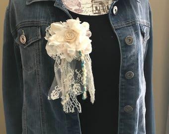 Boho Flower Jacket Clip - E