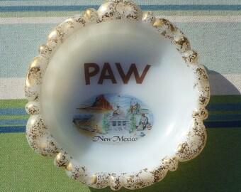 vintage souvenir milkglass new mexico ashtray for PAW