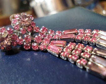 Vintage Pink Diamante Chandelier Clip On Earrings Prom Wedding Formal Burlesque