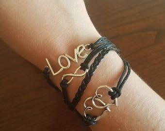Interlink Heart Breaded Bracelet - Black