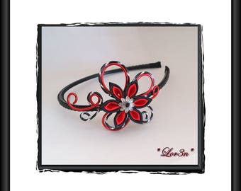 Aluminum Black and Red headband and flower kanzashi