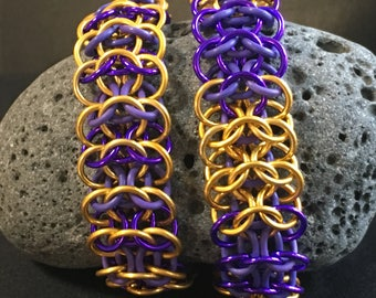 The Sports Fan-LSU Tigers - Purple and Gold - Interwoven 4 in 1 stretchy chain maille bracelet