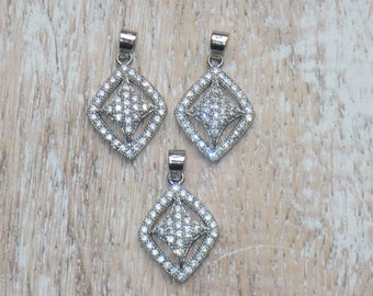 Pave Cz Silver Plated Diamond Charms