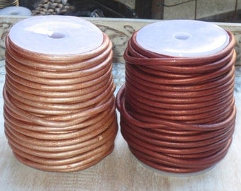 5mm Metallic Leather Cord, Round Leather, Leather Cord, Metallic Leather, 5.0mm leather cord, Gold and Rust