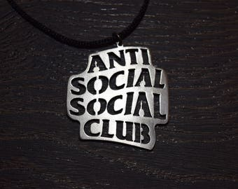 Anti Social Social Club necklace pendant emblen amulet logo symbol pin choker sign sigil ASSC